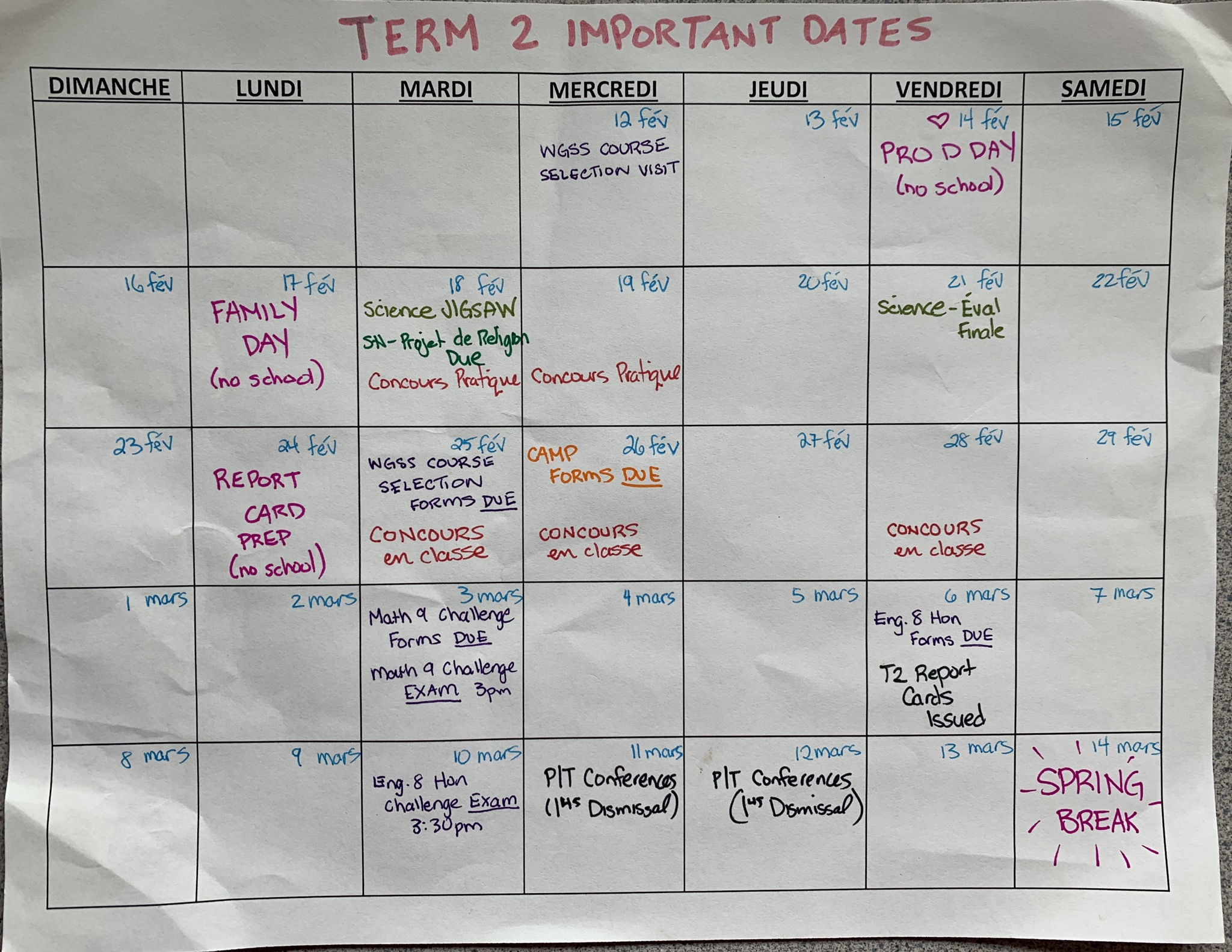 Term 2 Important Dates